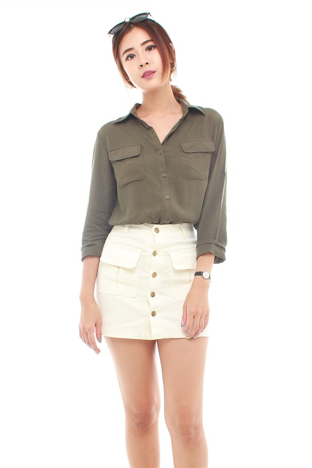 *BACK IN STOCK* Weekender Oversized Shirt in Olive