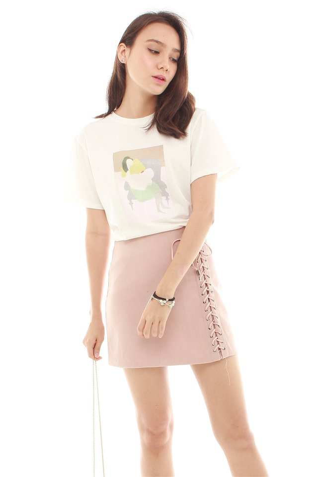 *BACK IN STOCK* Shoelace Detail Suede Skirt in Blush