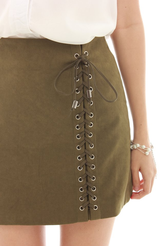 *BACK IN STOCK* Shoelace Detail Suede Skirt in Olive