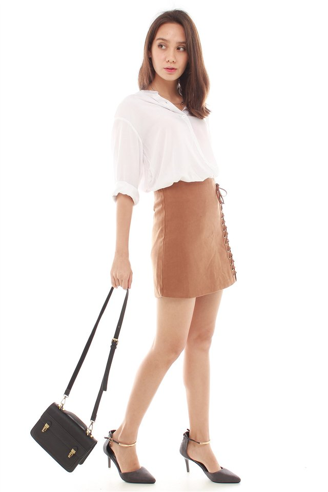 *BACK IN STOCK* Shoelace Detail Suede Skirt in Camel