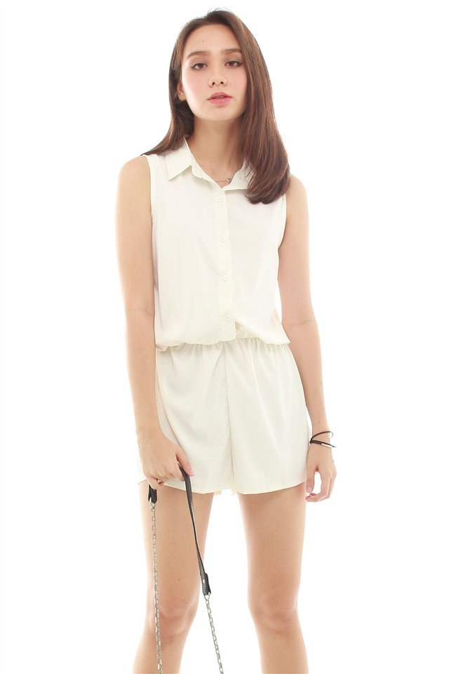 Sleeveless Button Down Pocket Shirt Romper in White
