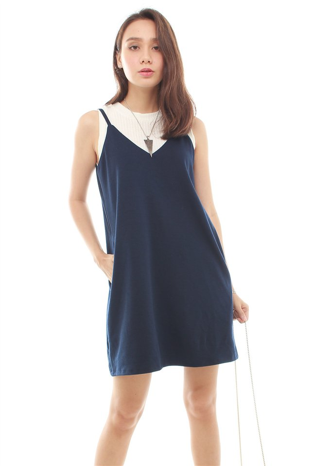 *BACK IN STOCK* Basic Pocket Slip Dress in Navy