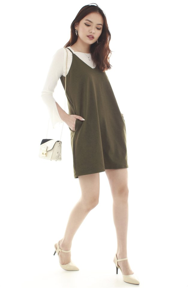 *BACK IN STOCK* Basic Pocket Slip Dress in Olive