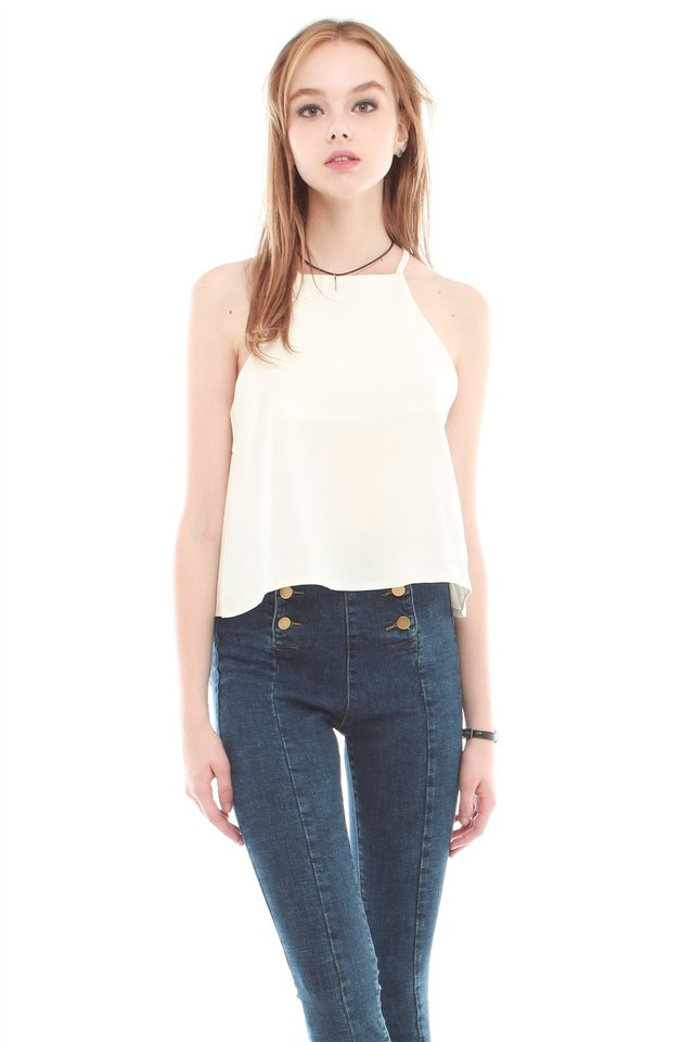 *BACK IN STOCK* ACW Cut In Neckline Top in White