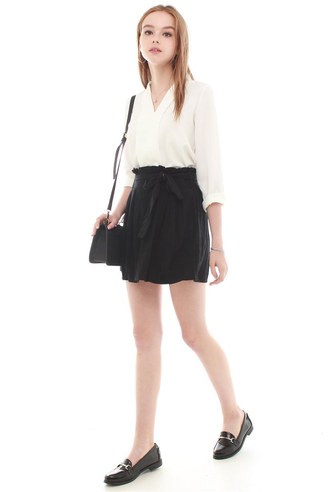 Sash Tie Paperbag Skirt in Black