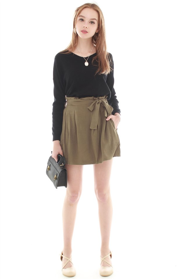 Sash Tie Paperbag Skirt in Army Green