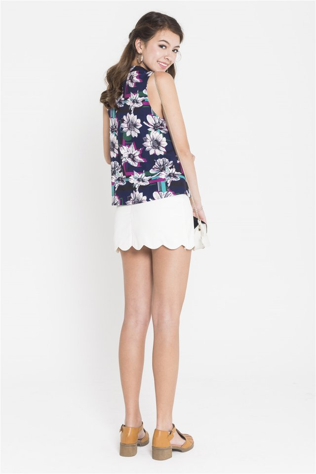 ACW High Neck Floral Printed Swing Top in Navy