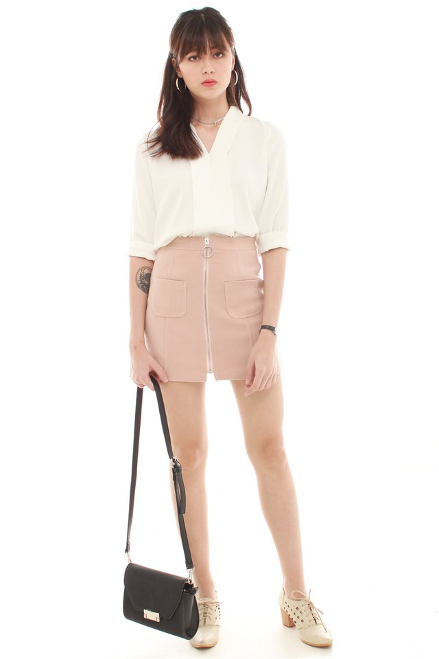 *BACK IN STOCK* Exposed Zipper Suede Skirt in Blush