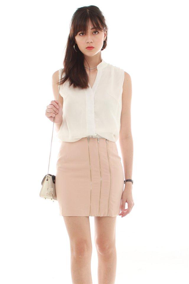Triple Exposed Zipper Skirt in Blush