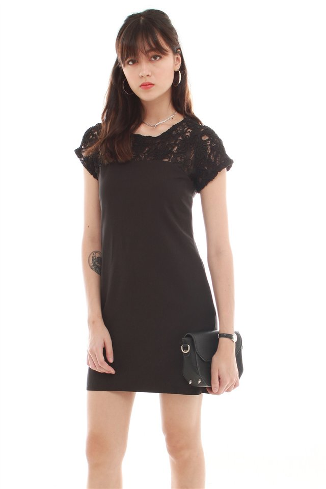 ACW Crotchet Neckline Open Back Shift Dress in Black