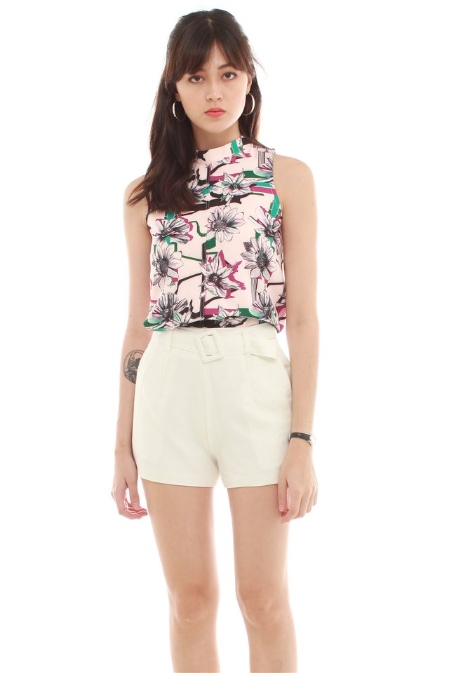 ACW High Neck Floral Printed Swing Top in Blush