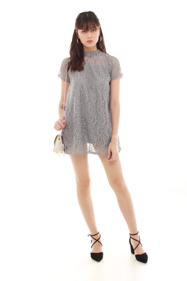 *BACK IN STOCK* Lace Overlay Swing Dress in Grey