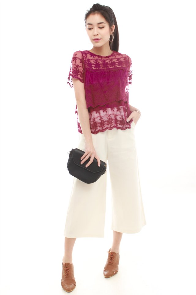 Lace Panel Scallop Hem Top in Berry