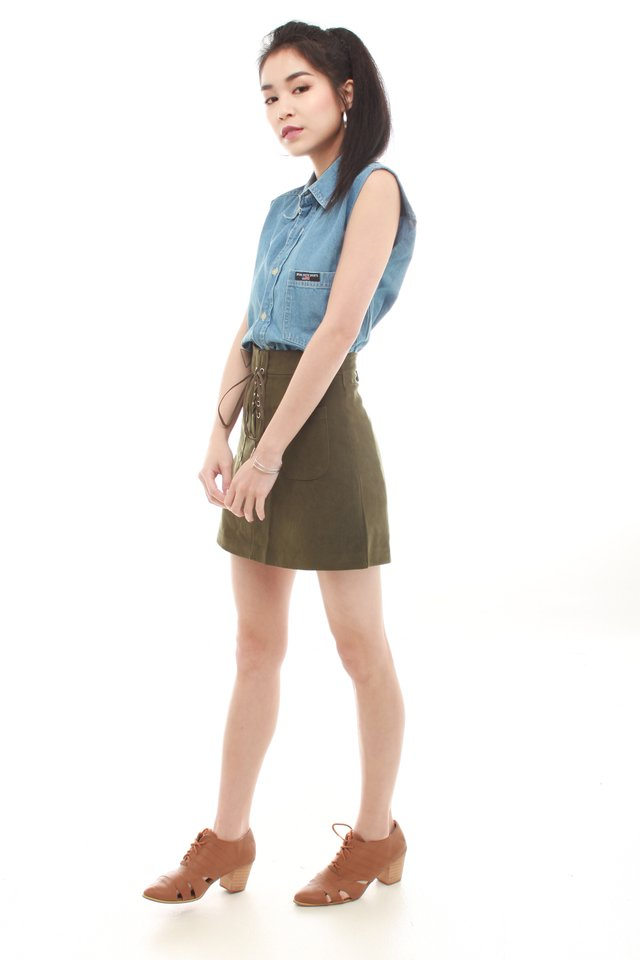 *BACK IN STOCK* Lace Tie Suede Skirt in Olive