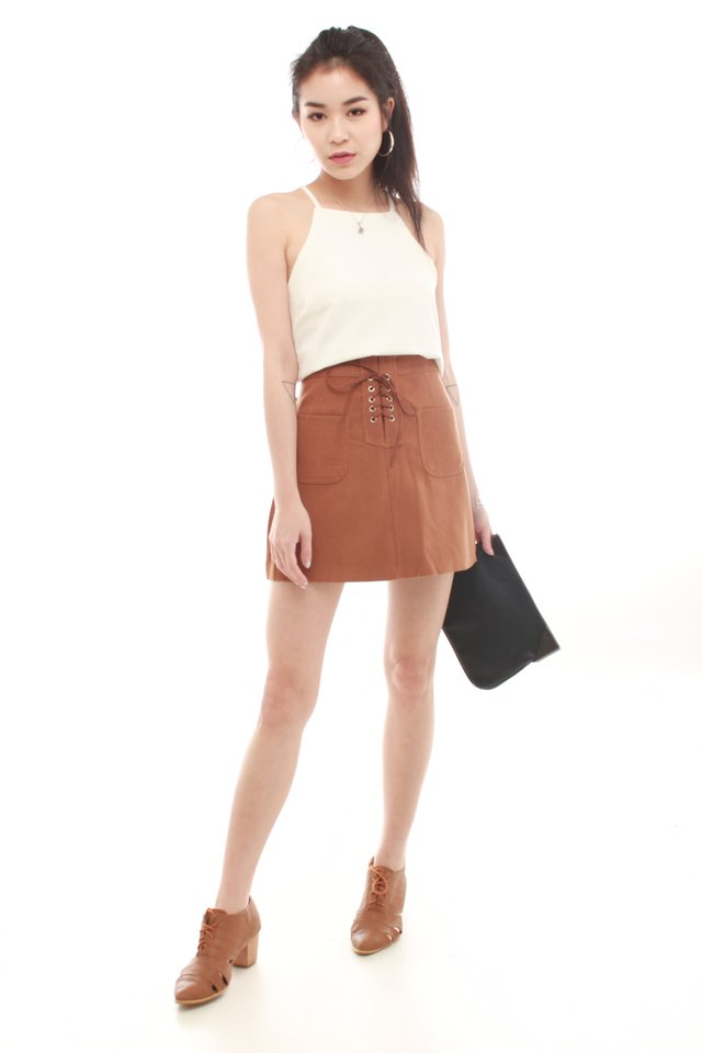 *BACK IN STOCK* Lace Tie Suede Skirt in Camel