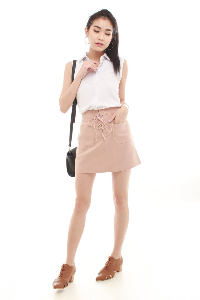 *BACK IN STOCK* Lace Tie Suede Skirt in Blush