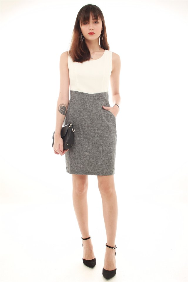 *BACK IN STOCK* Tweed Contrast Pocket Work Dress