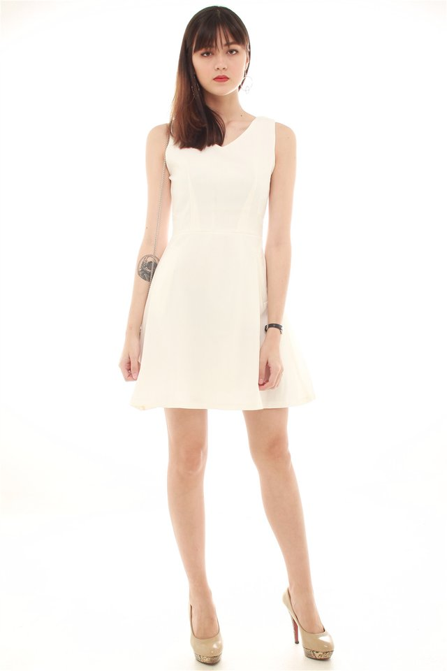 Fine Lines Pocket Flare Dress in White