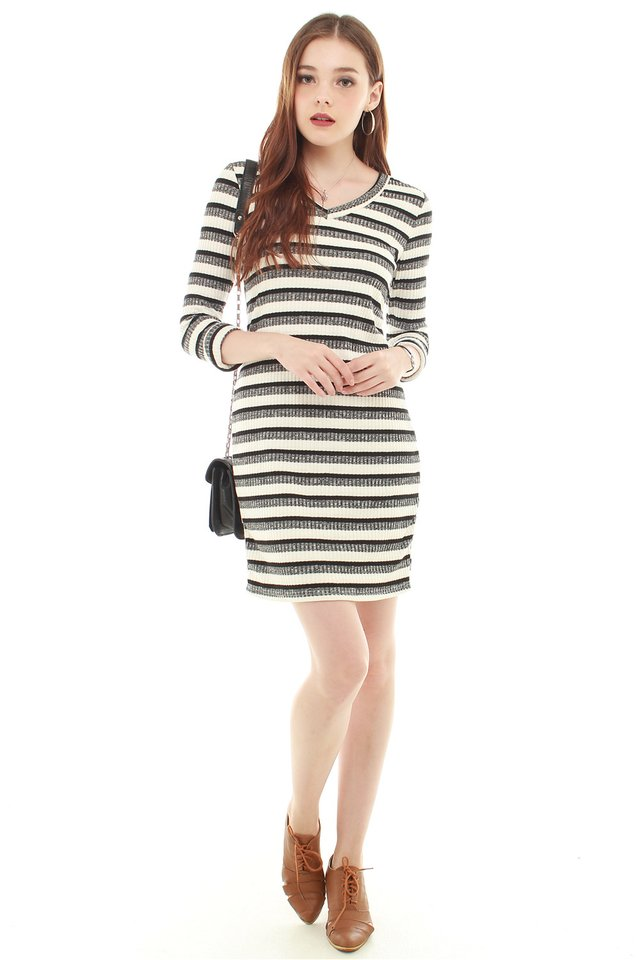 Striped Knit Work Dress in White