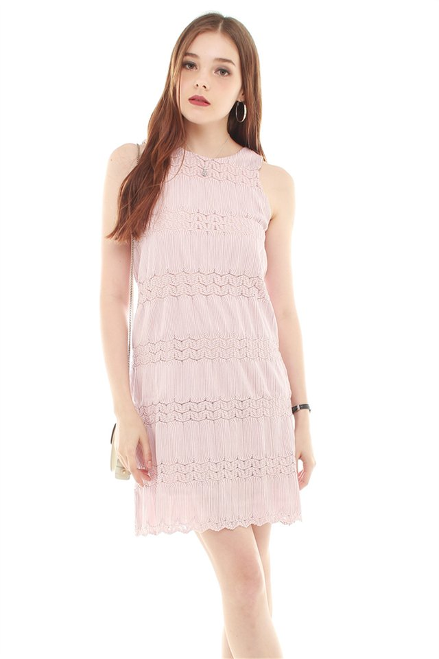 Embroidery Detail Shift Dress in Blush