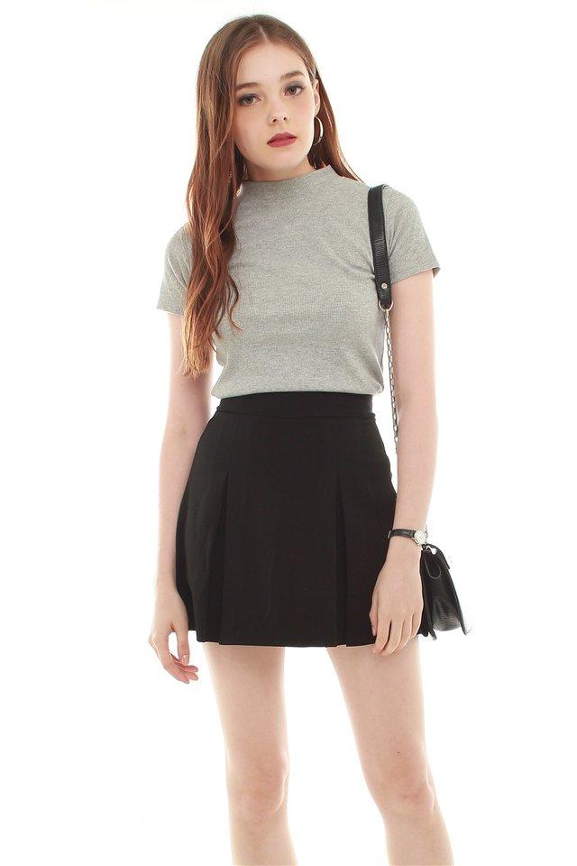 *BACK IN STOCK* Box Pleated Skirt in Black