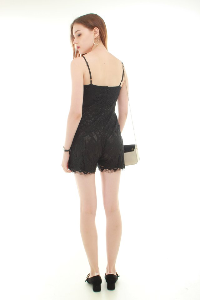 Eyelash Lace Trimming Romper in Black