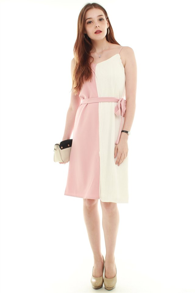 *BACK IN STOCK* Colourblock Pleated Midi Dress in Blush