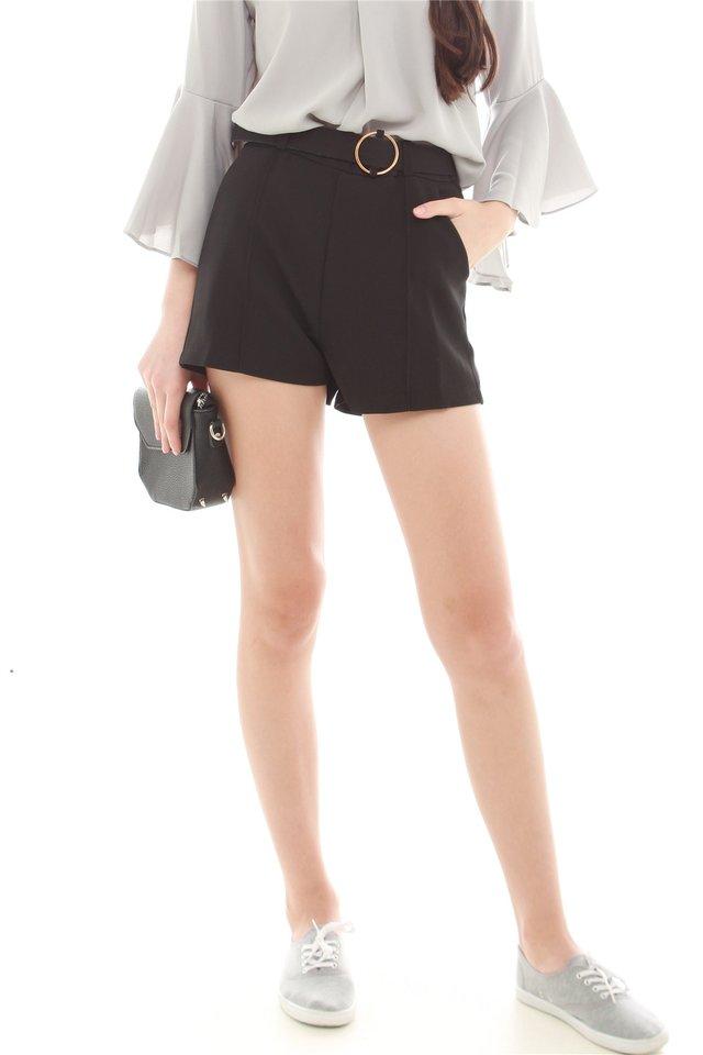 *BACK IN STOCK* Belted Pocket Structured Shorts in Black