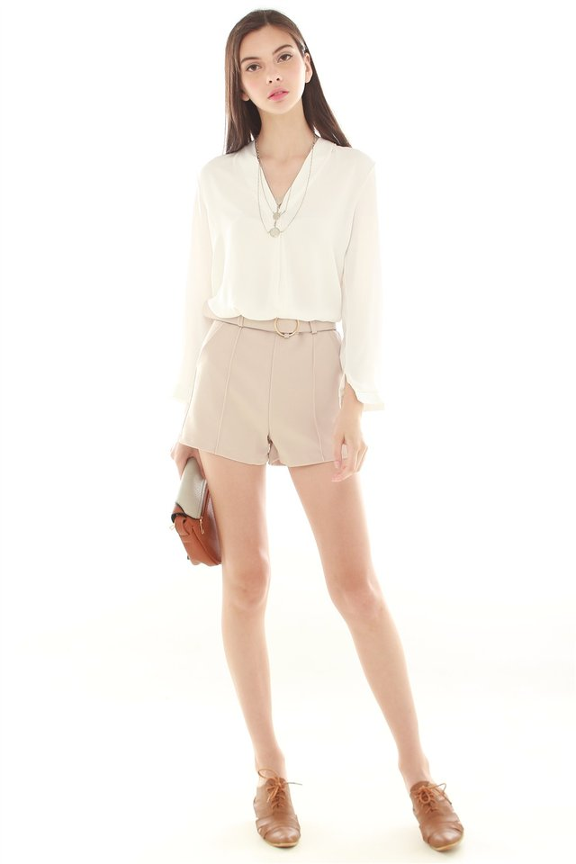 *BACK IN STOCK* Belted Pocket Structured Shorts in Khaki