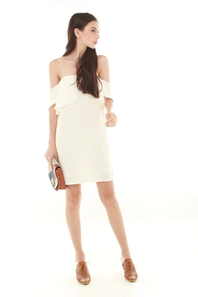 Cold Shoulder Ruffles Dress in White