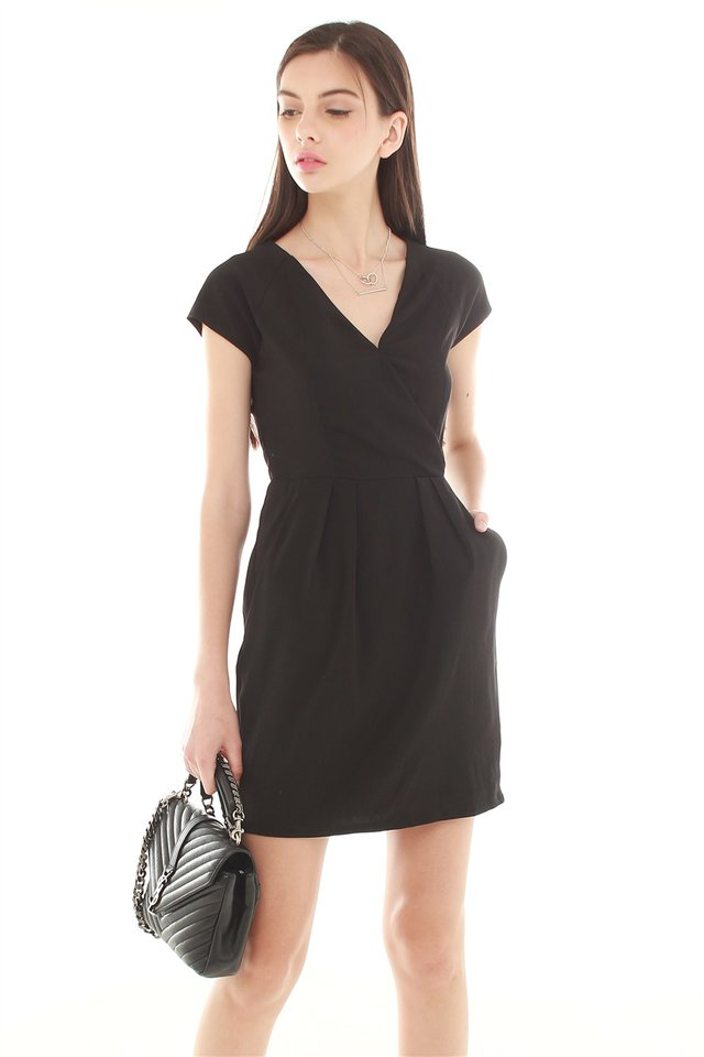 *BACK IN STOCK* ACW Front Wrap Pocket Work Dress in Black