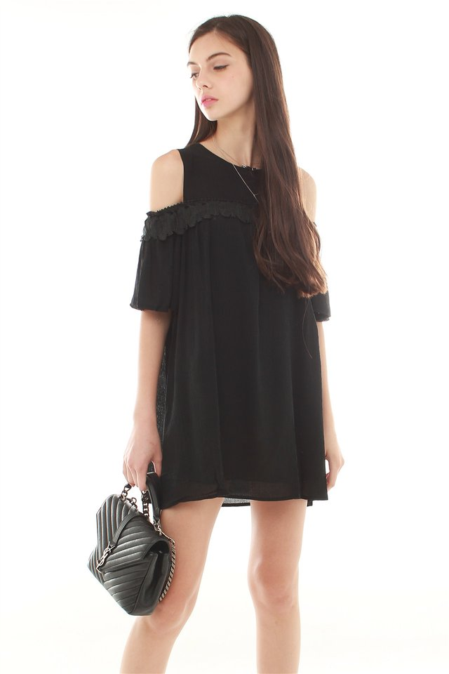 *BACK IN STOCK* Feather Off Shoulder Boho Dress in Black