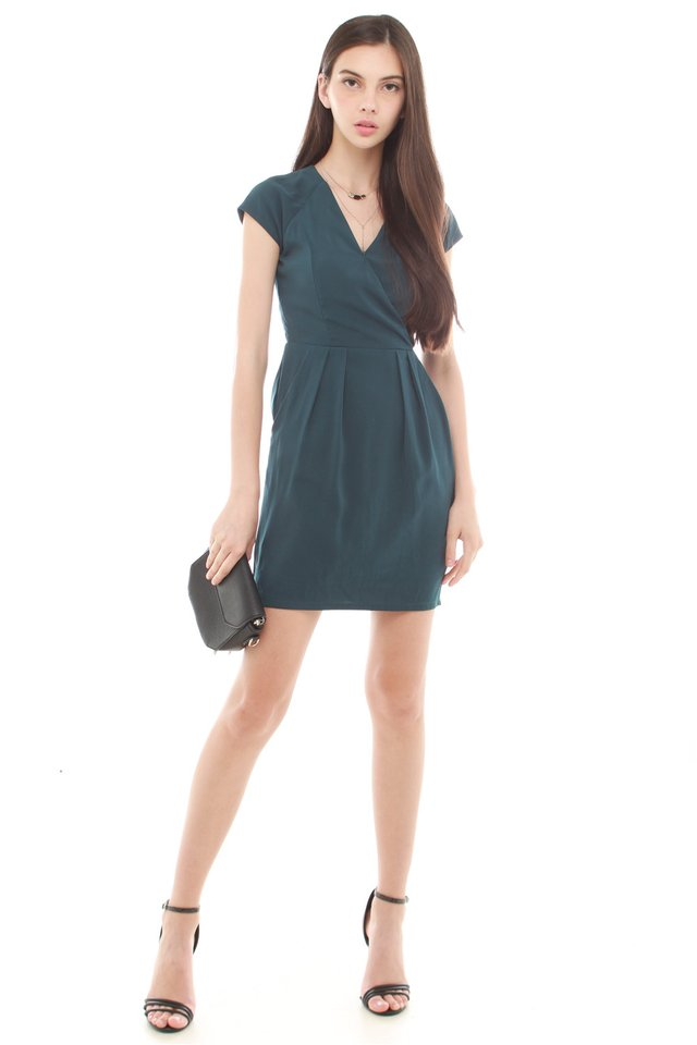*BACK IN STOCK* ACW Front Wrap Pocket Work Dress in Emerald