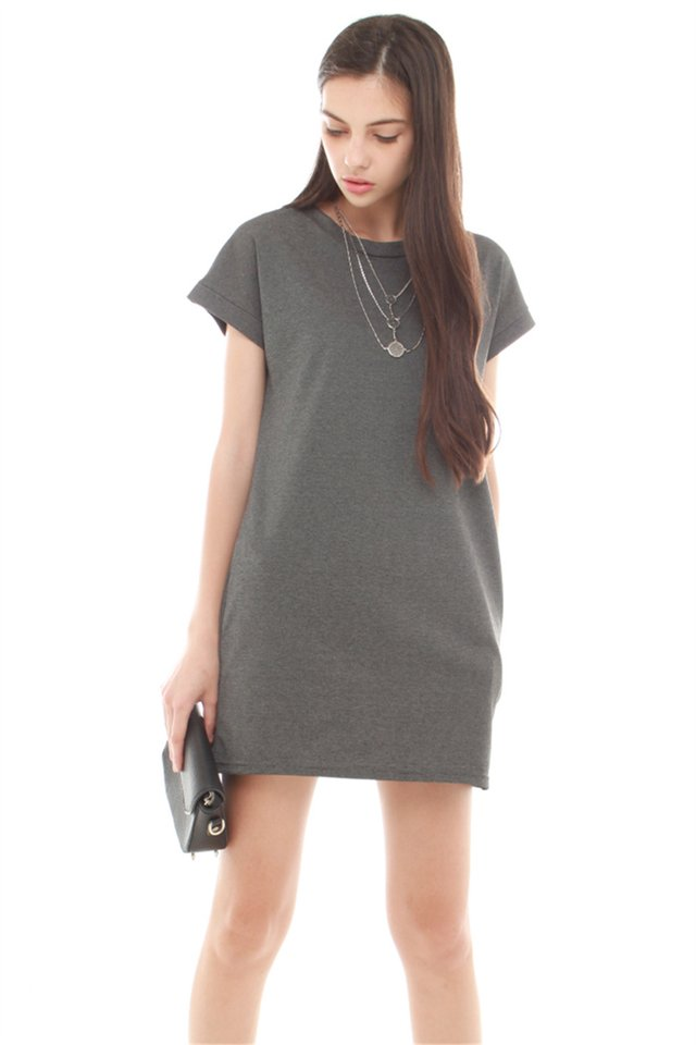*BACK IN STOCK* ACW Structured Pocket Tee Dress in Dark Grey