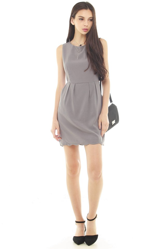 *BACK IN STOCK* ACW Scallop Wave Hem Pocket Work Dress in Grey
