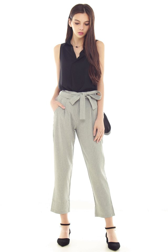 Pinstripe Paperbag Sash Pants in Suit Grey
