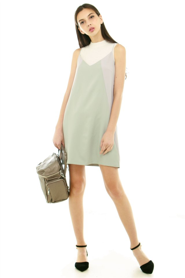 Colourblocking Panel Slip Dress in Mint