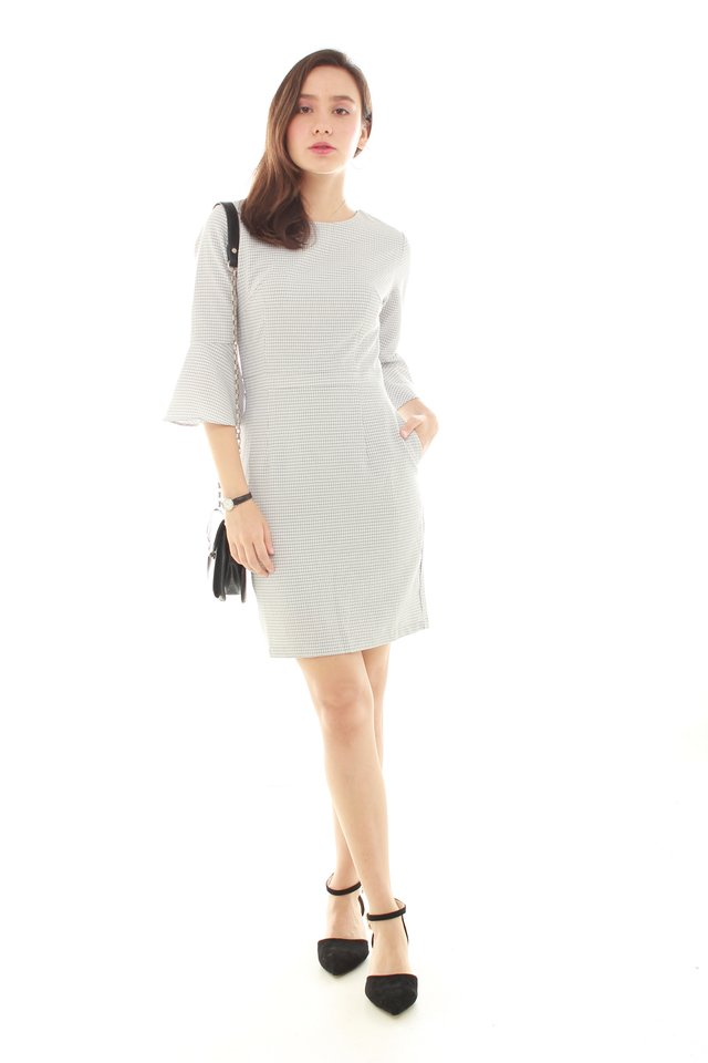 Bell Sleeve Structured Work Dress in Light Grey Houndstooth