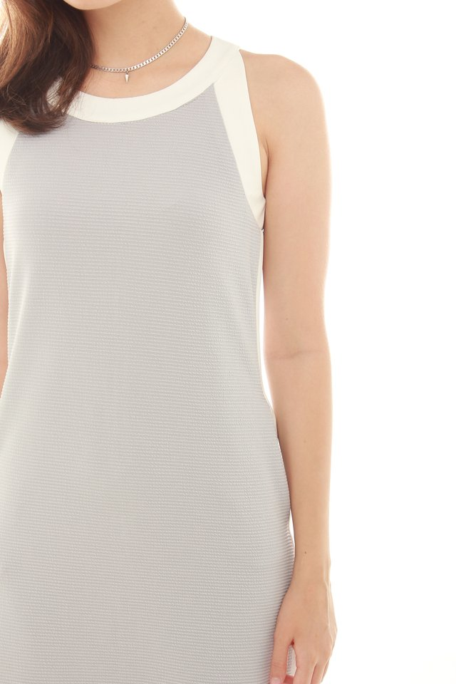 Contrast Neckline Textured Dress in Light Grey