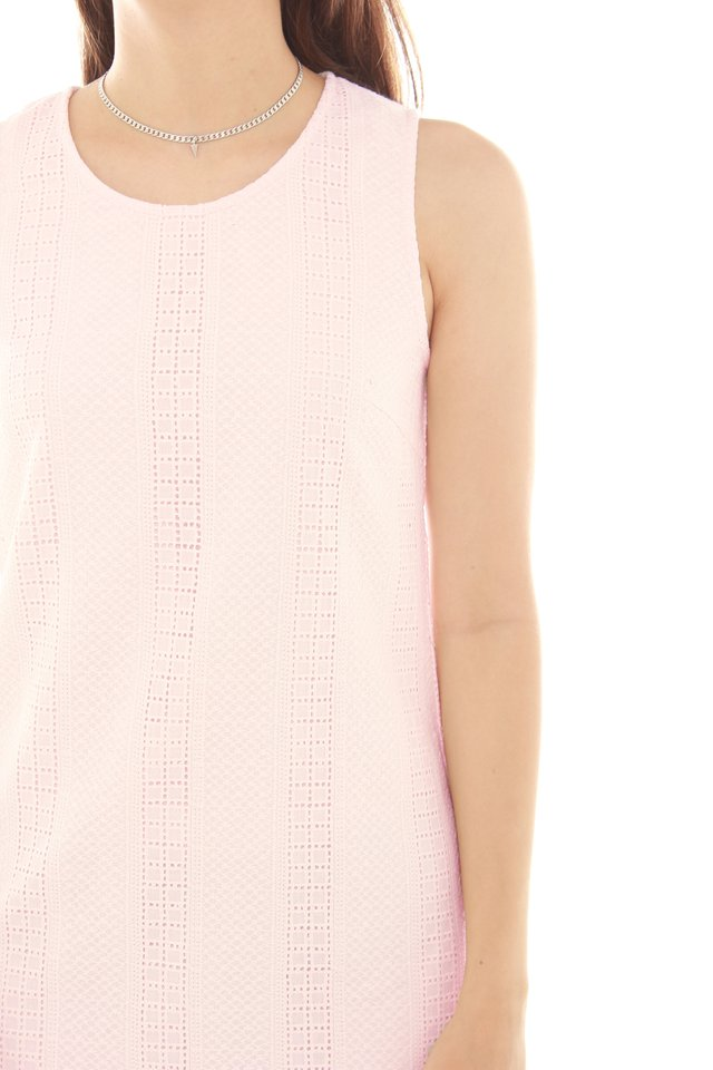 Eyelet Shift Dress in Blush