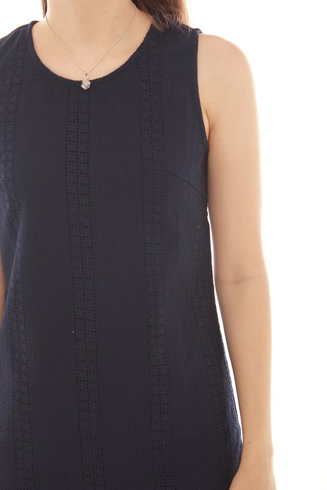 Eyelet Shift Dress in Navy