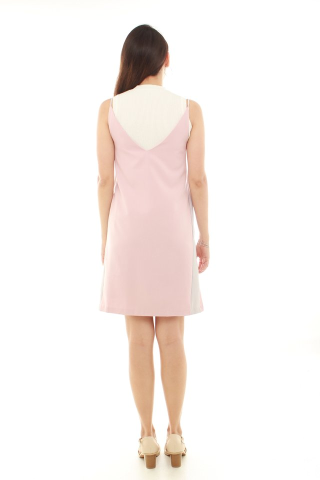 Colourblocking Panel Slip Dress in Dusty Pink