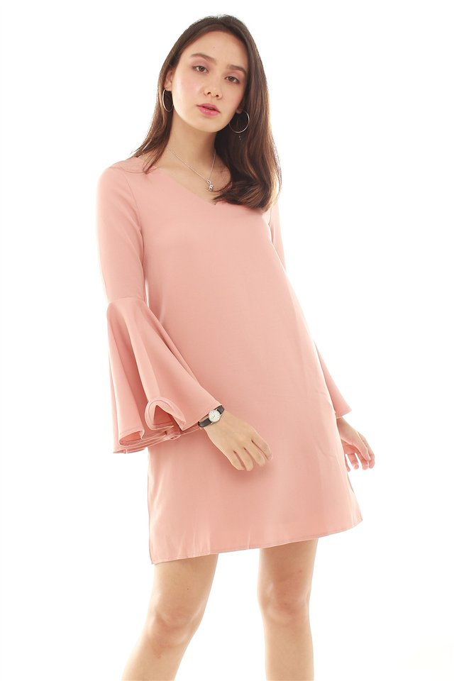 *BACK IN STOCK* Flute Sleeve Shift Dress in Salmon Pink