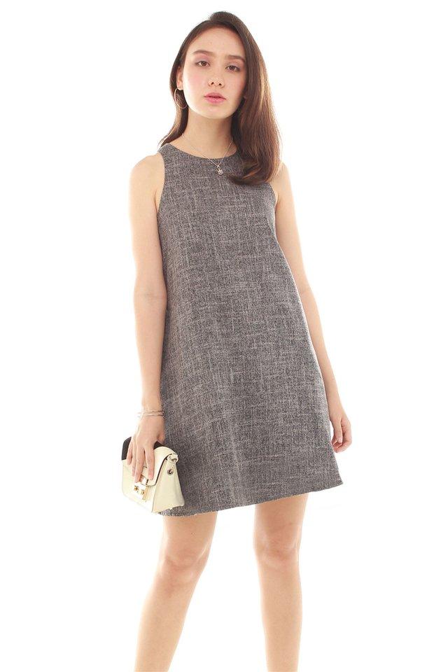 Tweed Textured Pocket Trapeze Dress in Dark Grey
