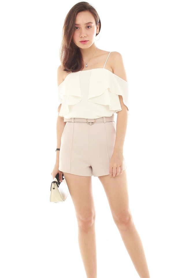 Cold Shoulder Ruffles Top in White