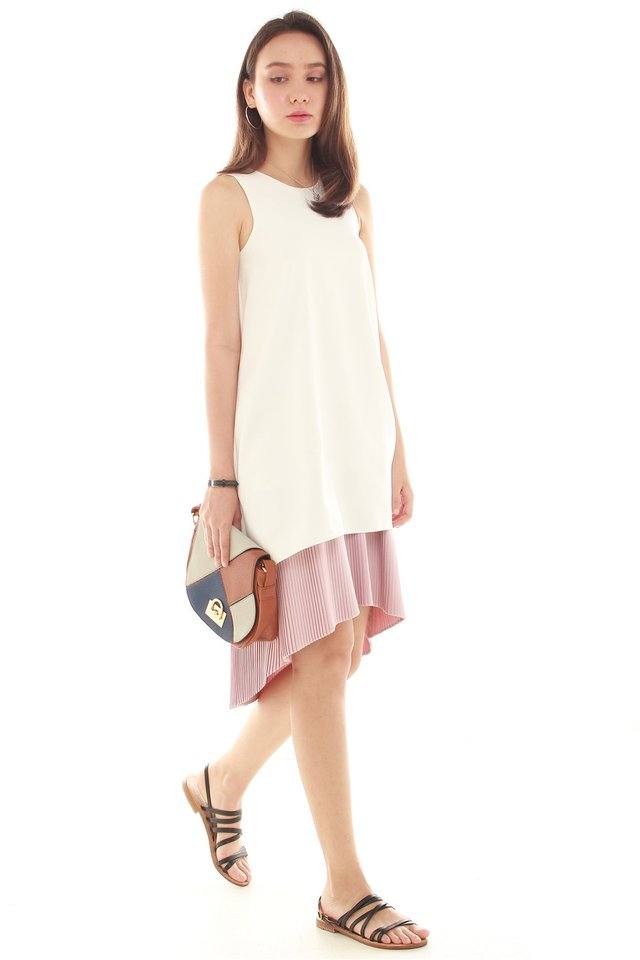 *BACK IN STOCK* Pleated Hemline Asymmetrical Midi Dress in White