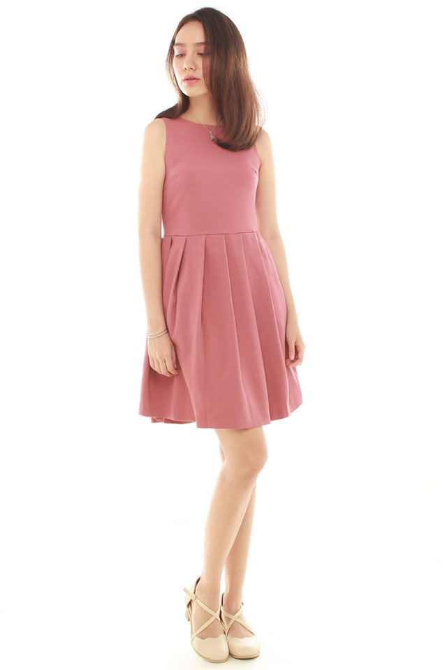 Thick Pleated Fit and Flare Dress in Berry
