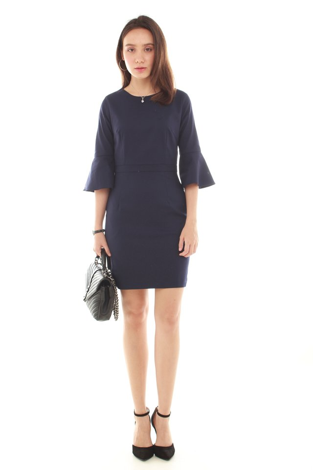 Bell Sleeve Structured Work Dress in Navy