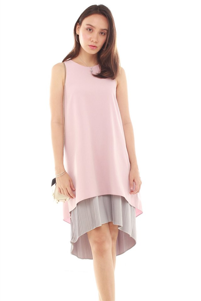 *BACK IN STOCK* Pleated Hemline Asymmetrical Midi Dress in Dusty Pink