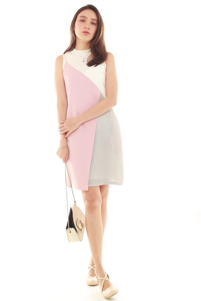 Colourblock Asymmetrical Pleated Slip Dress in Dusty Pink